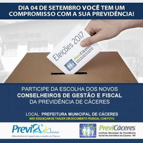 Eleições para os membros dos Conselhos Deliberativos da Previ-Cáceres ocorrem no dia 04 de setembro